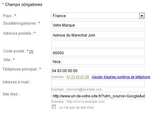 page google adresse