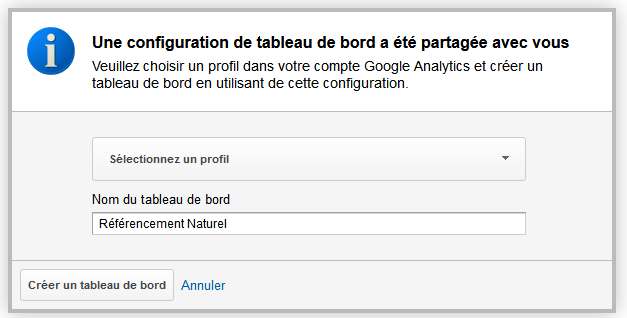 application du tableau de bord analytics