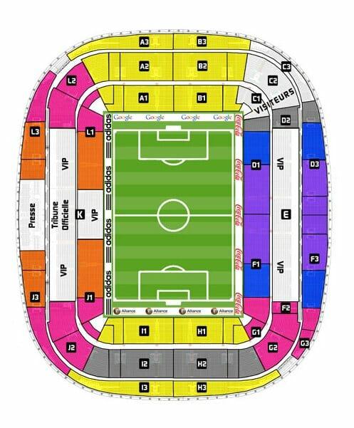 Le graphique ci-dessus indique les tarifs différents selon l'emplacement de la publicité : du moins cher (jaune) au plus cher (violet). Le rose représente les écrans géants.