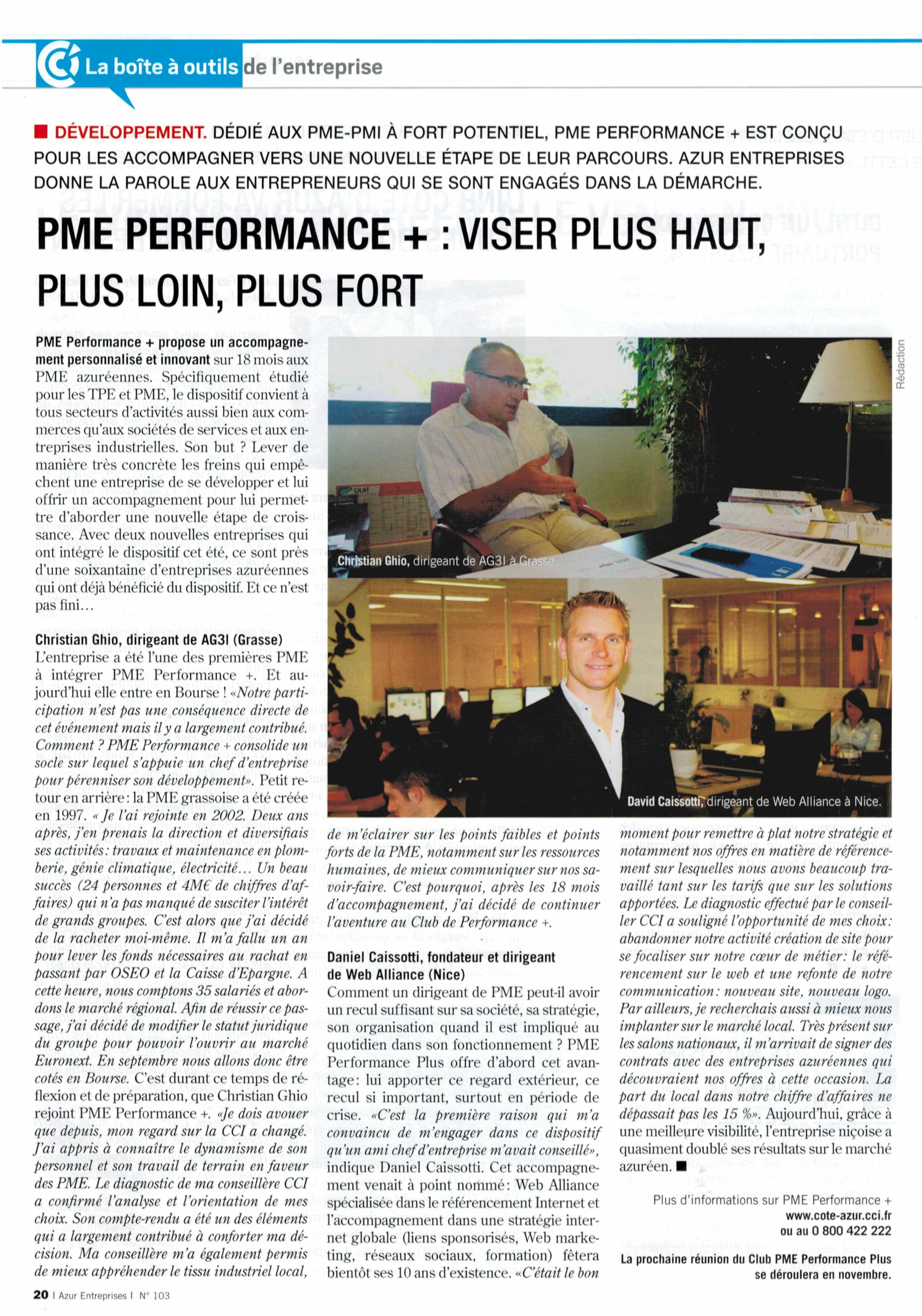 L'article de presse publié par la CCI dans le magazine économique de la Côte d'Azur