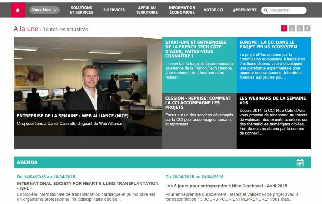 La CCI Nice Côte d'Azur met à l'honneur l'entreprise Web Alliance sur son site internet