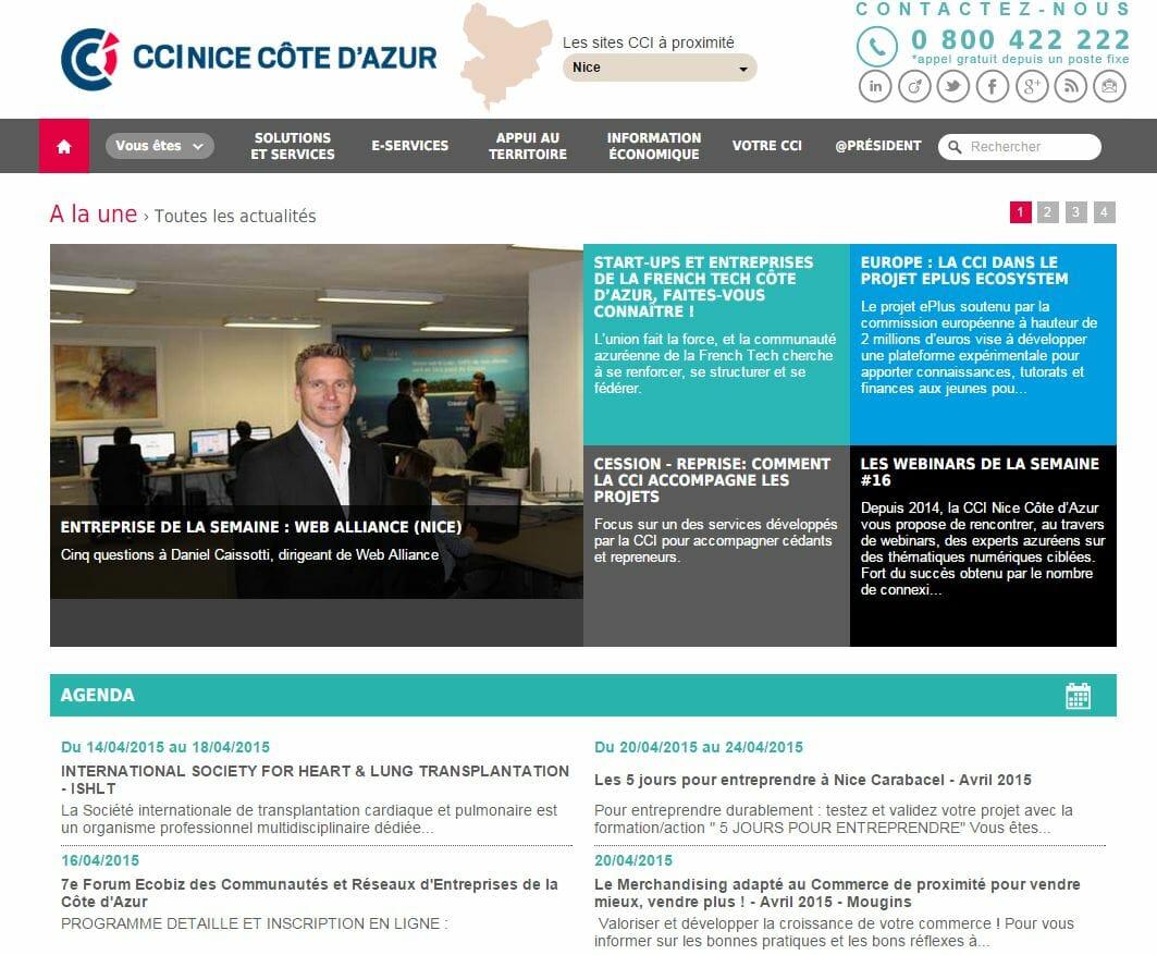 Web alliance l honneur sur le site de la cci nice c te d - Chambre de commerce et d industrie nice cote d azur ...