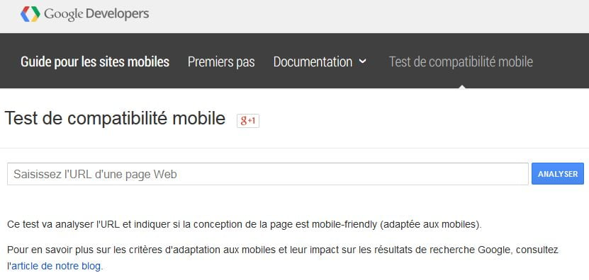 Test de compatibilité mobile - Google