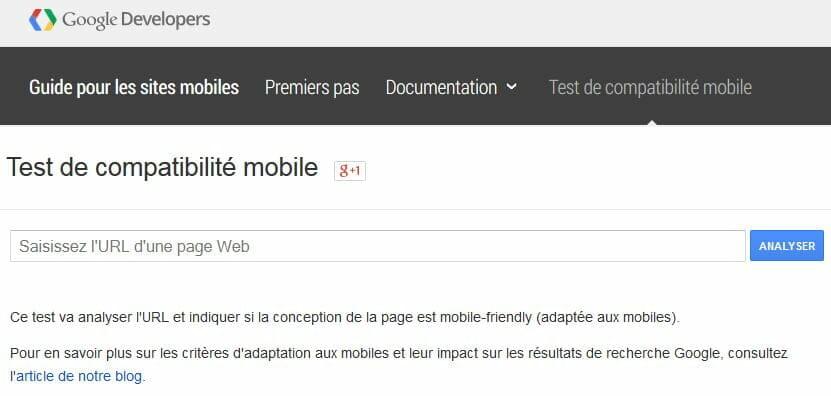 Test de compatibilité mobile - Google