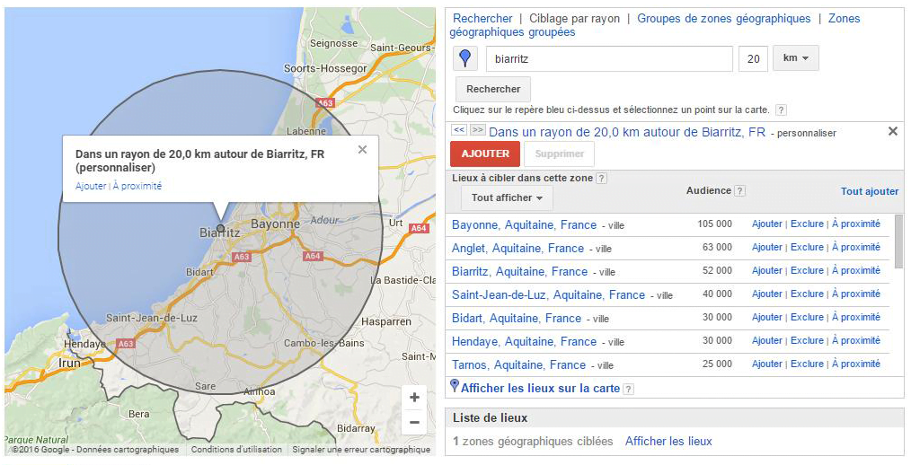 campagne google adwords locale - geolocalisee
