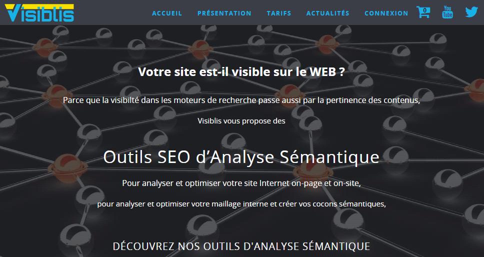 Capture d'écran du site Visibilis, l'outil d'analyse sémantique