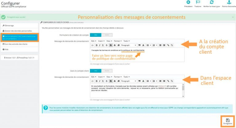 Modification des messages par défaut du module Prestashop