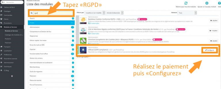 Recherche du module RGPD sous Prestashop