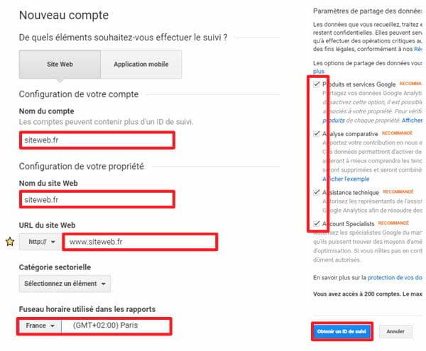 Compte Analytics configuration
