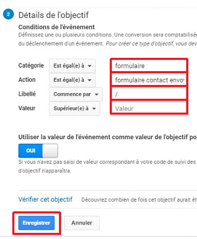 Conditions de l'événement tag manager