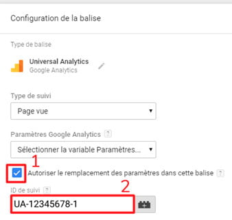 ID de suivi paramétrage