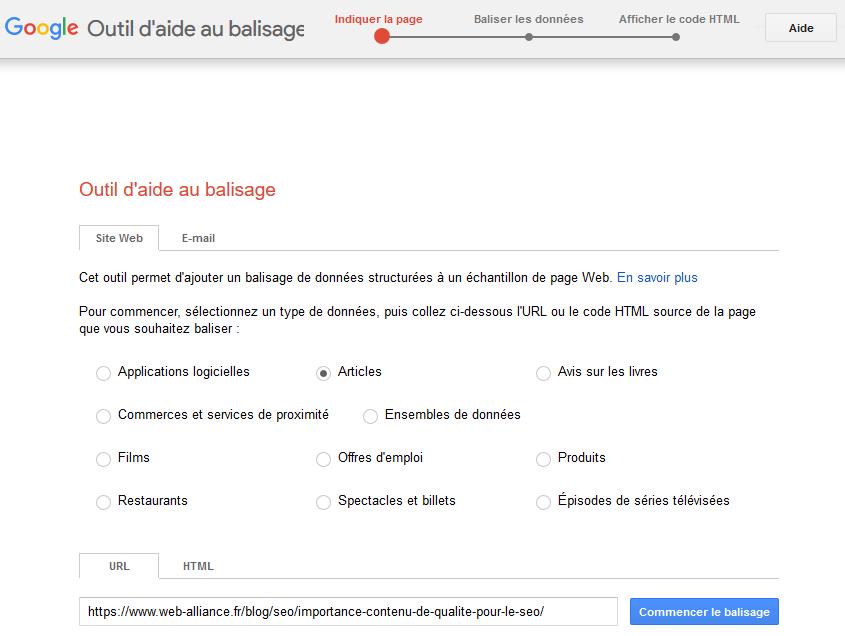 première étape de l'outil d'aide au balisage de google pour structurer s