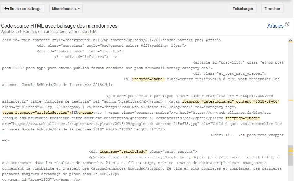 3ème étape de l'outil d'aide au balisage de google pour structurer ses données