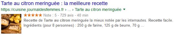 Résultat de recherche Google sur Tarte au citron enrichie grâce au balisage sémantique des données structurées