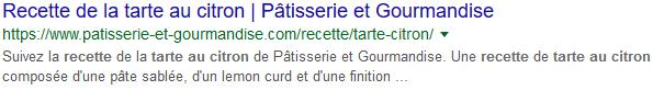 Résultat de recherche Google sans balisage sémantique sur une recette de tarte au citron