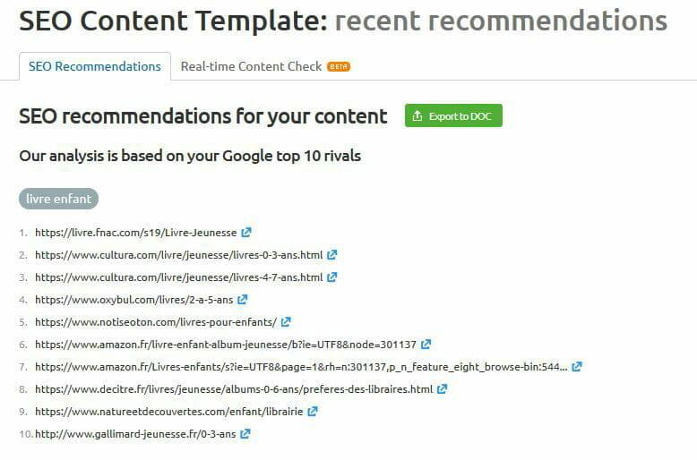 recommandation seo content template sem rush