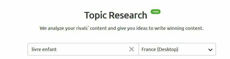sem rush topic research mot cle