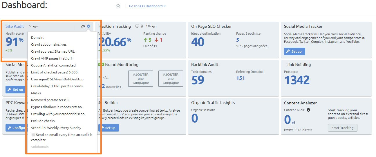 parametrage site audit semrush