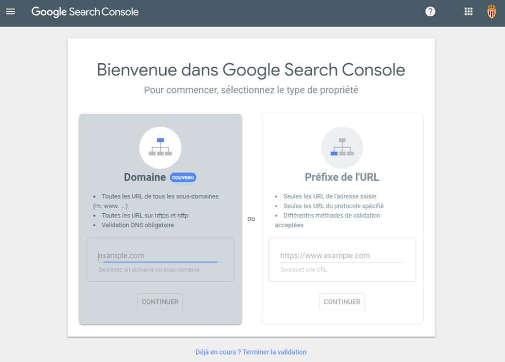 Création propriété Search Console
