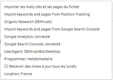 parametrage on page seo checker semrush