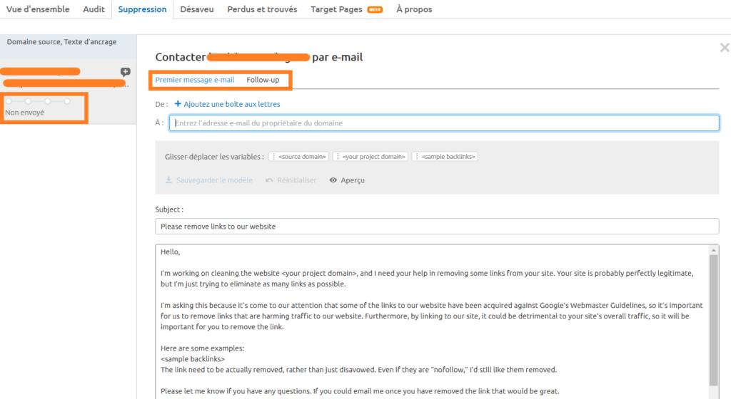 backlink audit suppression email semrush