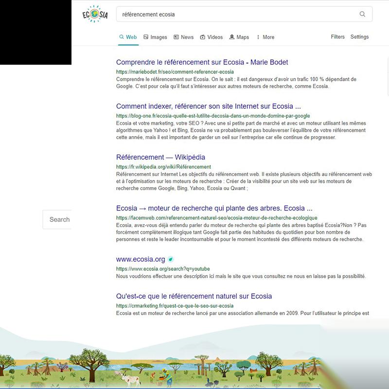 Résultats naturels Ecosia