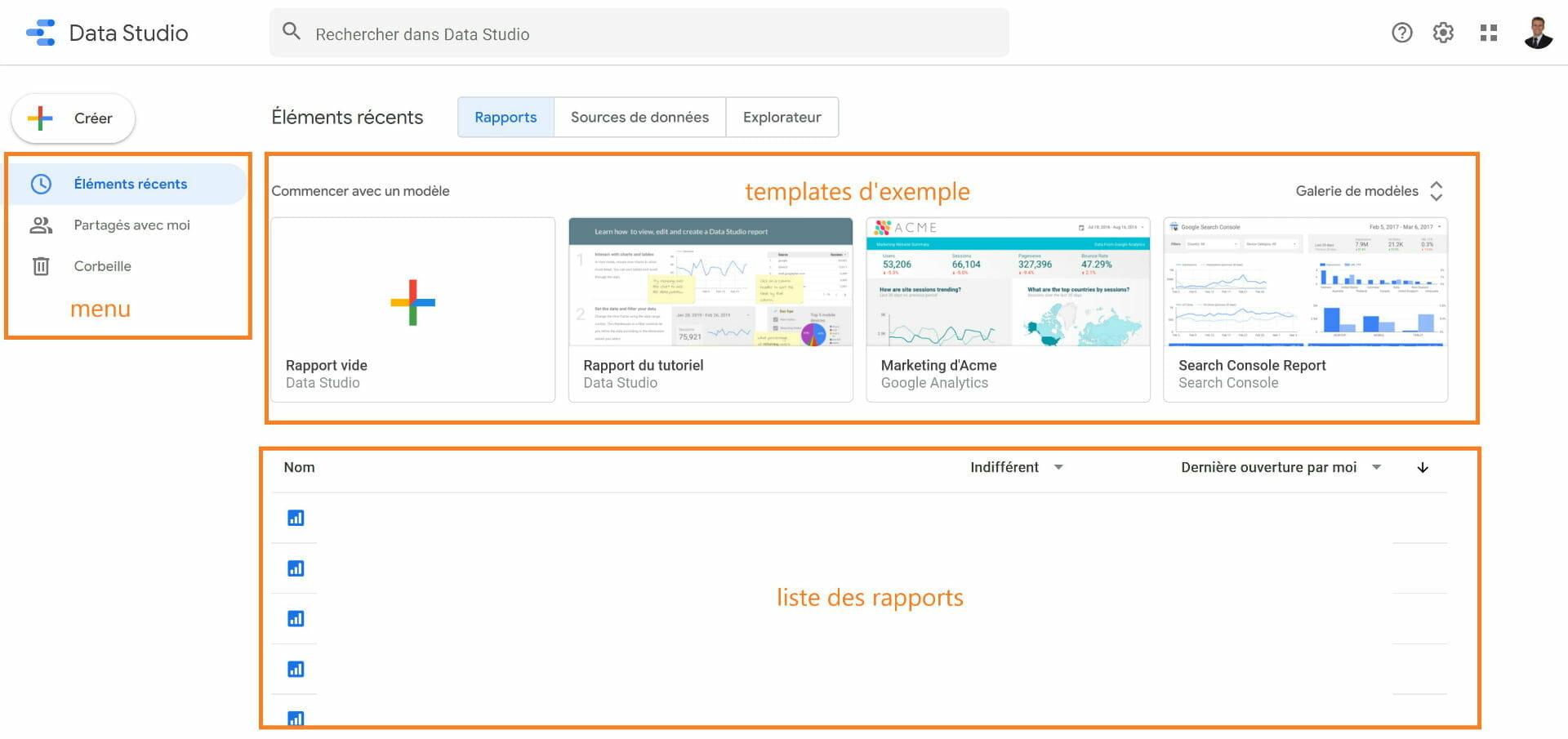 interface google data studio