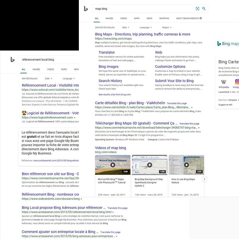 Recherche universelle Bing